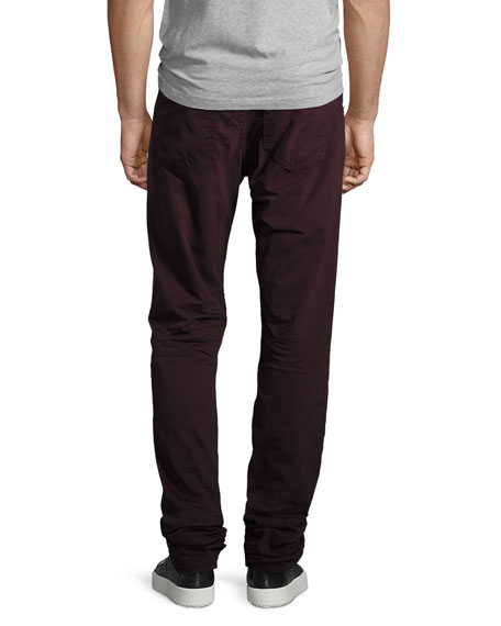 Fit 2 Slim-Leg Twill Jeans, Distressed Wine