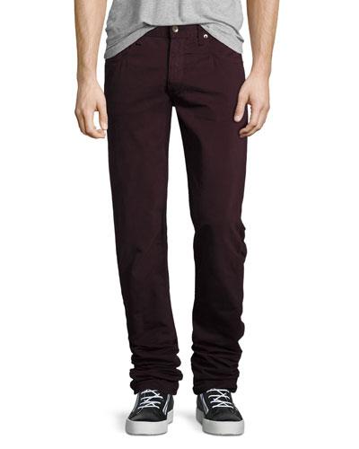 Fit 2 Slim-Leg Twill Jeans, Distressed Wine