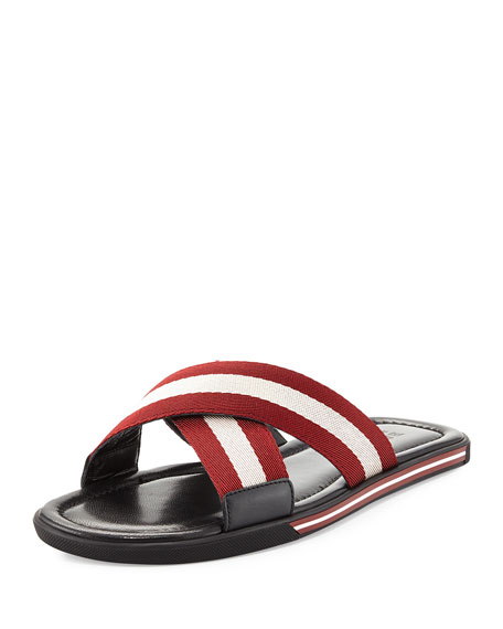 Bally Bonks Men's Trainspotting-Stripe Fabric Slide Sandal,