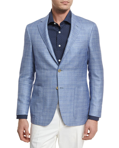 Wool-Blend Two-Button Blazer, Light Blue
