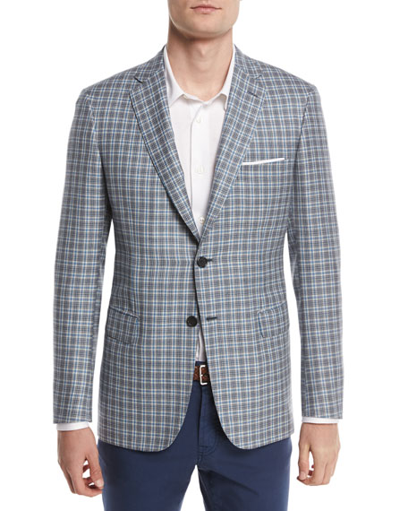 Check Plaid Two-Button Sport Coat, Light Gray/Blue