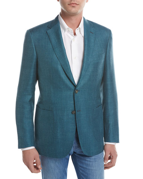 Solid Wool-Silk-Linen Two-Button Blazer, Teal Green/Blue