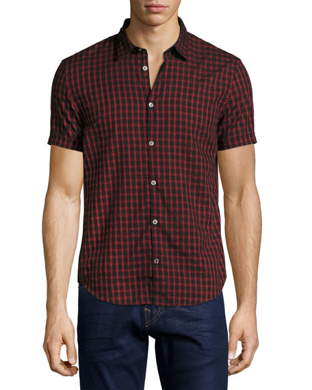 John Varvatos Star USA Check Cotton Slim-Fit Short-Sleeve