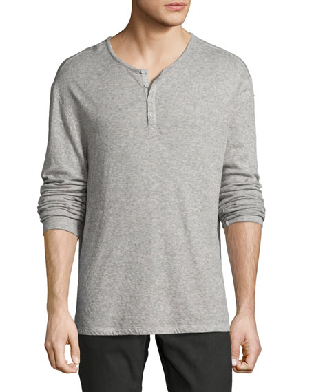 John Varvatos Star USA Lightweight Mini-Jacquard Henley Sweater