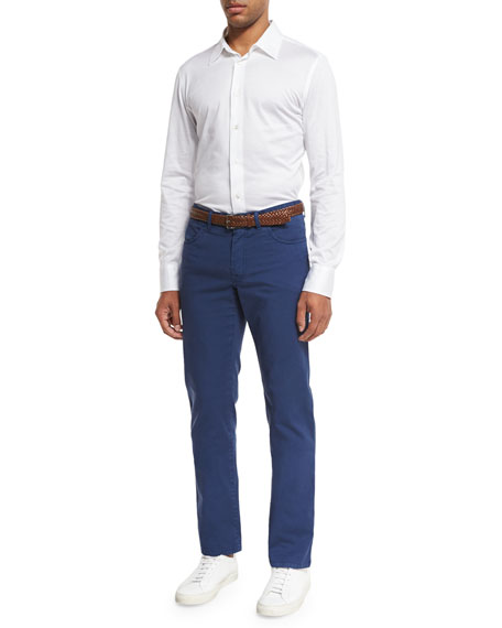 Five-Pocket Twill Pants, Blue
