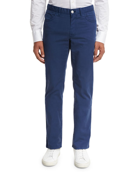 Brioni Five-Pocket Twill Pants, Blue