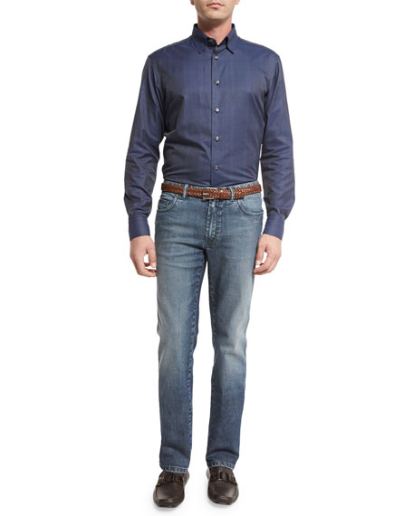 Dark-Wash Denim Straight-Leg Jeans, Blue