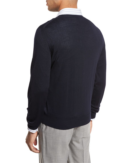 Essential Fine-Gauge V-Neck Sweater, Navy Blue