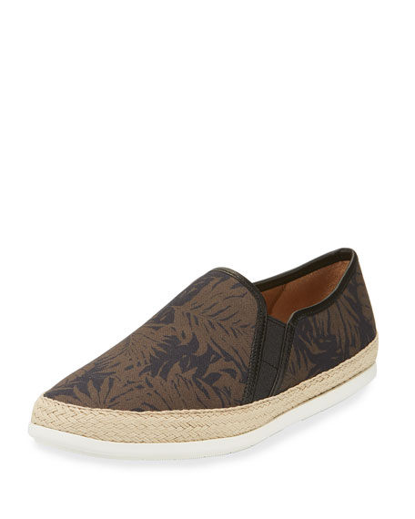 Chalmers 2 Palm Leaf Canvas Espadrille Slip-On Sneaker, Black/Brown