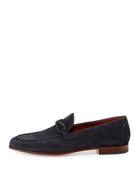 Suede Loafer with Woven Leather Strap, Navy