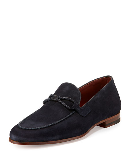 Magnanni for Neiman Marcus Suede Loafer with Woven