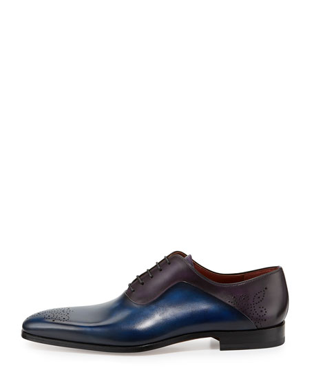 Two-Tone Medallion-Toe Oxford Shoe, Blue/Purple