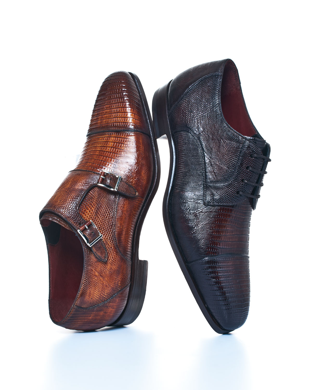 Magnanni for Neiman Marcus Lizard Double-Monk Shoes, Saddle | Neiman Marcus