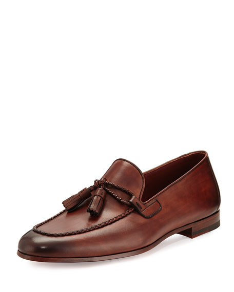 Magnanni for Neiman Marcus Leather Loafer with Woven