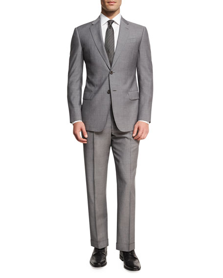 Armani Collezioni Neat Two-Piece Suit, Light Gray