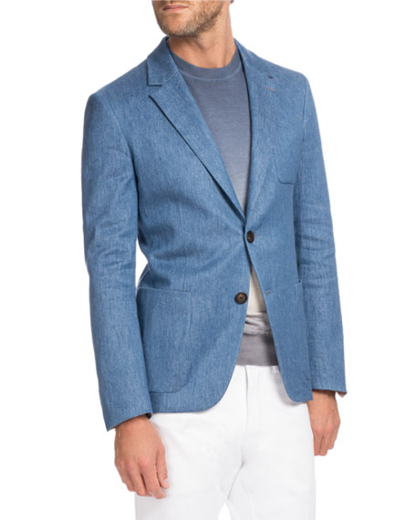 Berluti Chambray Two-Button Blazer, Medium-Light Blue