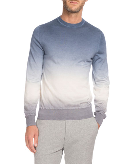 Berluti Ombré Cashmere Sweater, Light Blue/White/Gray
