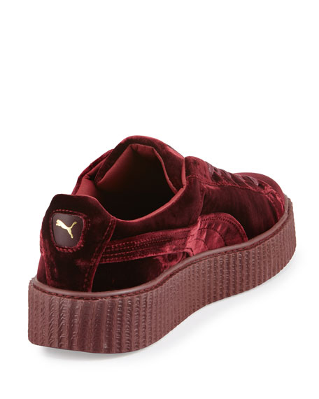 Men's Velvet Creeper Sneakers, Dark Red