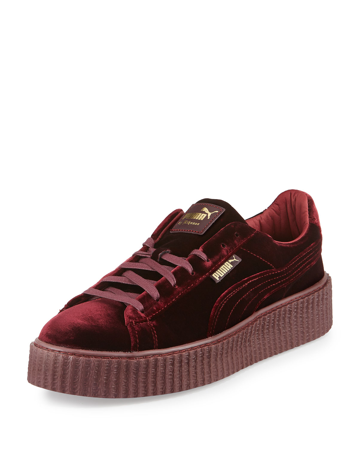 puma creepers velvet red