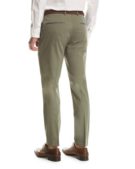 Stretch-Cotton Flat-Front Pants, Olive