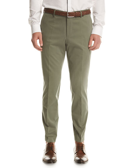 Stretch-Cotton Flat-Front Pants, Olive