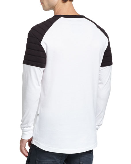 Lucas Relaxed Quilted-Contrast Jersey Long-Sleeve T-Shirt, White