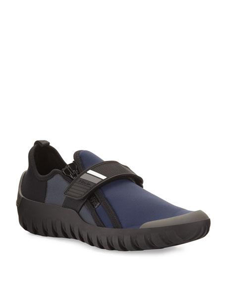 Prada Neoprene Scuba Sneaker, Navy/Black