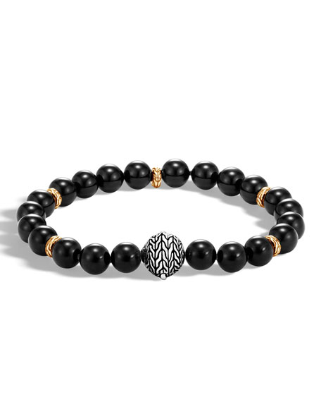 Men's Classic Chain Medium Bead Bracelet, Black