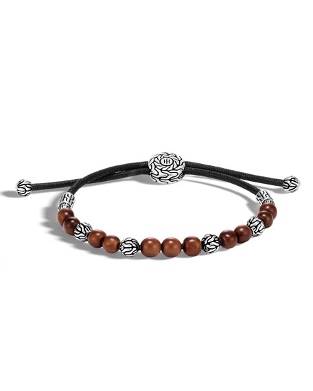 Men's Classic Chain Sterling Silver & Wood Bead Bracelet, Brown