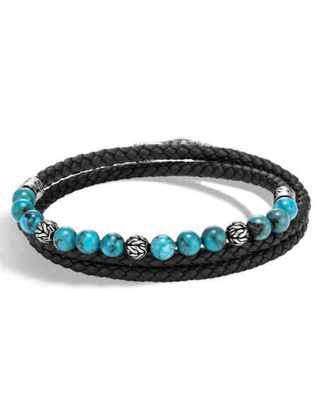 Men's Classic Chain Triple-Wrap Turquoise Bead Bracelet