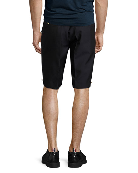 Trouser Shorts with Button Details, Navy
