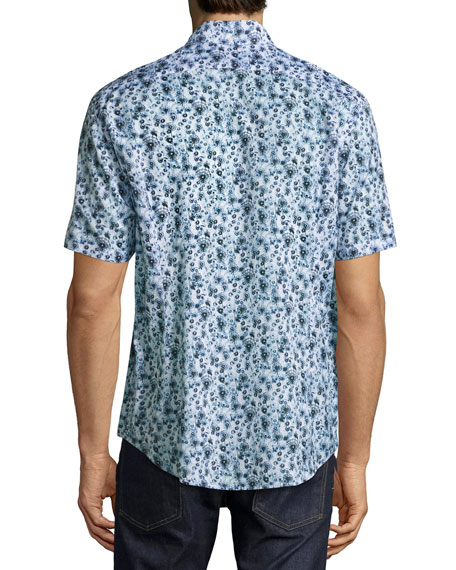 Dandelion Washed Short-Sleeve Sport Shirt, Blue/White