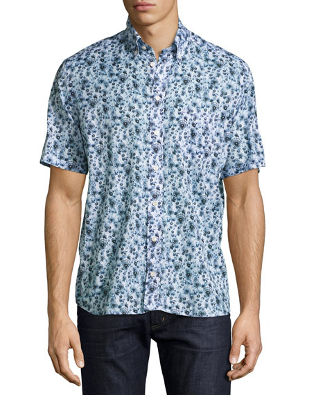 Dandelion Washed Short-Sleeve Sport Shirt, Blue/White
