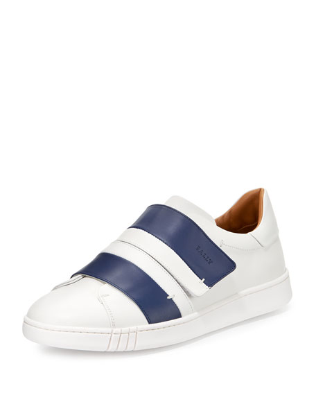 Bally Willet Leather Grip-Strap Sneaker, White/Blue