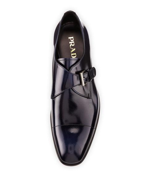 Spazzolato Cap-Toe Monk-Strap Shoe, Blue