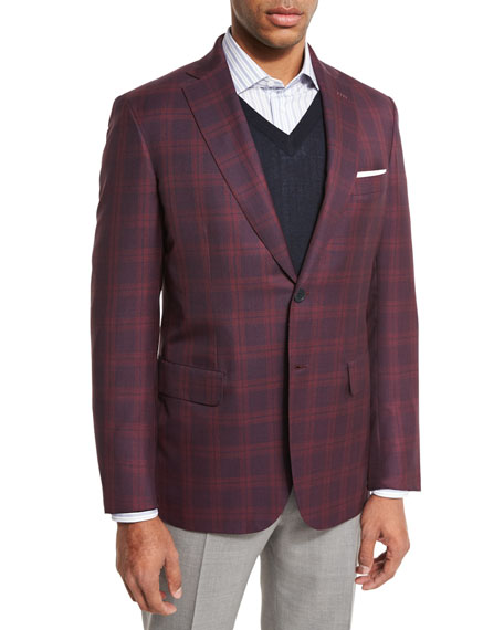 Plaid Two-Button Sport Coat, Red/Navy