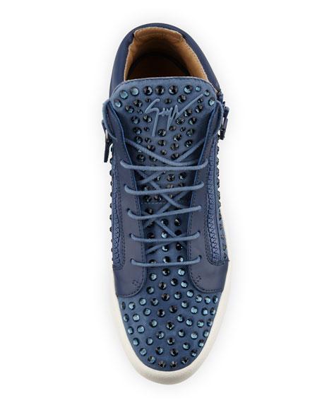 Men's Suede Rhinestone-Embellished Mid-Top Sneaker, Light Blue Denim