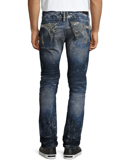 Distressed & Bleached Cargo Moto Jeans, Blue