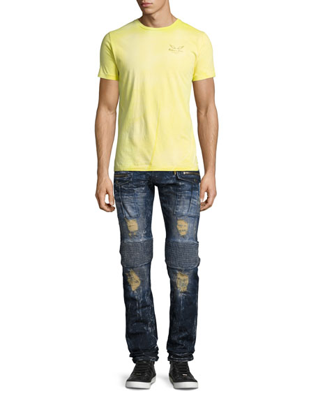 Robin's Jeans Distressed & Bleached Cargo Moto Jeans, Blue