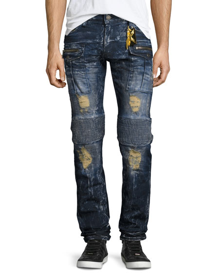 Robin's Jeans Distressed & Bleached Cargo Moto Jeans,