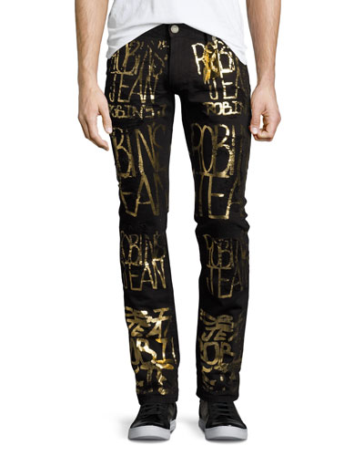 Skinny Jeans with Golden Logo Writing, Black