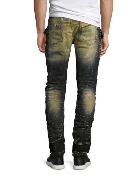 Distressed Cargo Skinny Jeans, Blue/Black