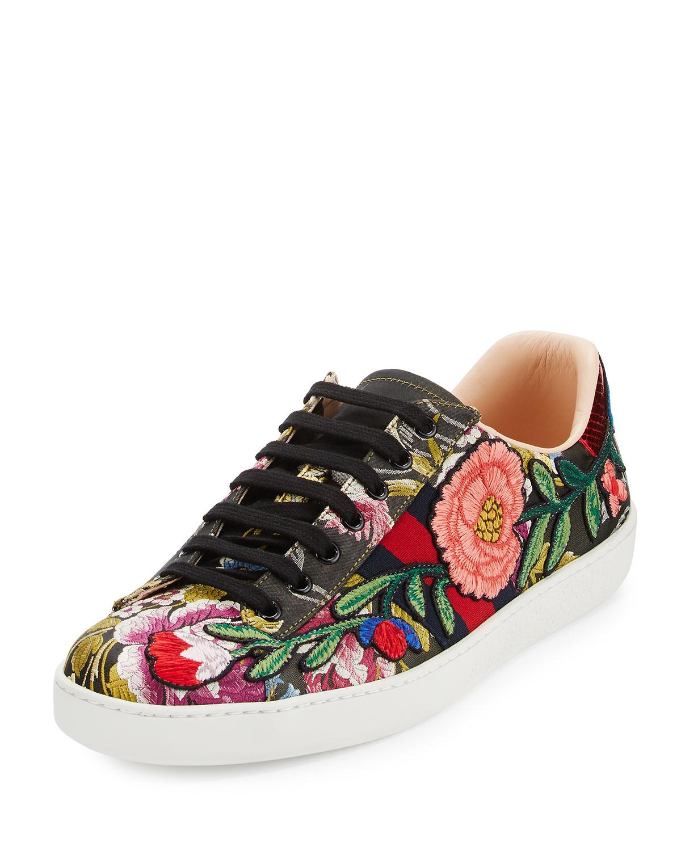 47890d2c3c4 Gucci New Ace Men s Floral Leather Low-Top Sneaker