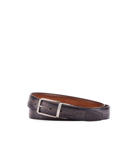 Berluti Reversible Scritto Leather Belt