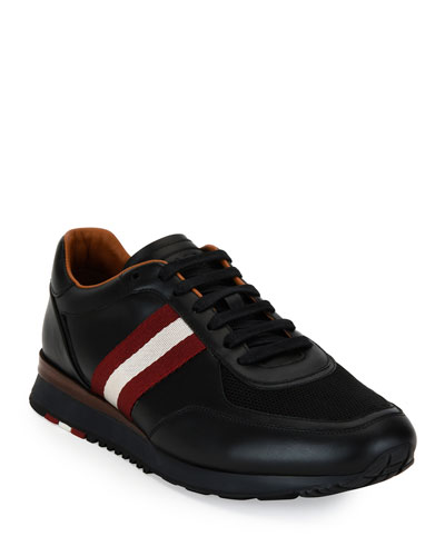 Men's Leather Trainer Sneakers w/Trainspotting Stripe  Black