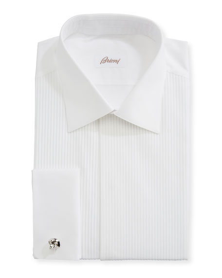 Image 1 of 2: Brioni Pleated Poplin French-Cuff Dress Shirt