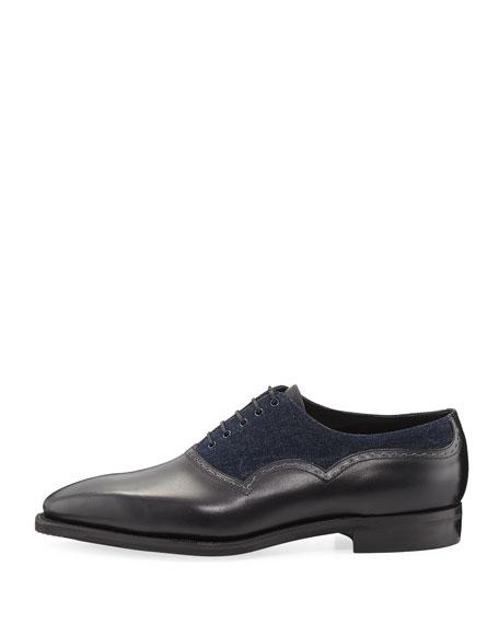 Corthay Wilfrid Denim & Leather Lace-Up Shoe