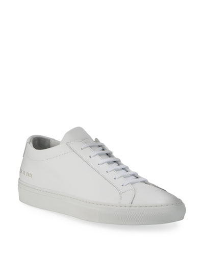 Men's Achilles Leather Low-Top Sneaker, White