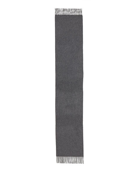 Begg & Co Reversible Cashmere Scarf w/Fringe, Charcoal