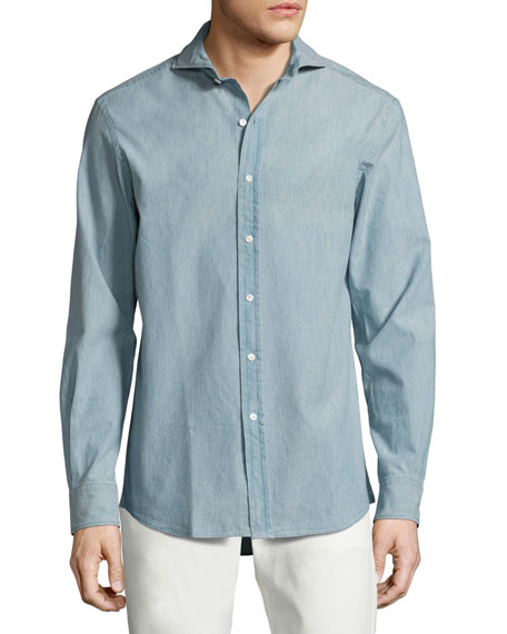 Ralph Lauren Purple Label Chambray Sport Shirt, Light Blue